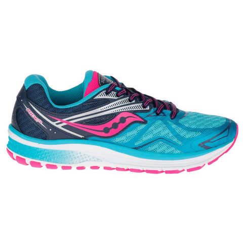 SAUCONY GIRLS GRADE SCHOOL/PRE-SCHOOL RIDE 9 BLUE/PINK