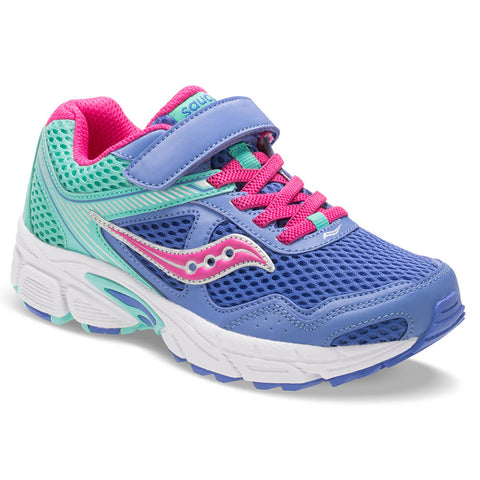SAUCONY GIRLS PRE-SCHOOL COHESION 10 ALTERNATIVE CLOSURE JUNIOR SHOE PERIWINKLE/TURQOISE