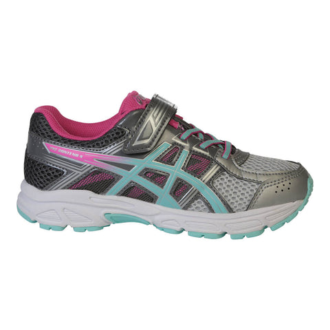 ASICS GIRLS PRE-SCHOOL PRE-CONTEND 4 JUNIOR SHOE SILVER/AQUA/PINK