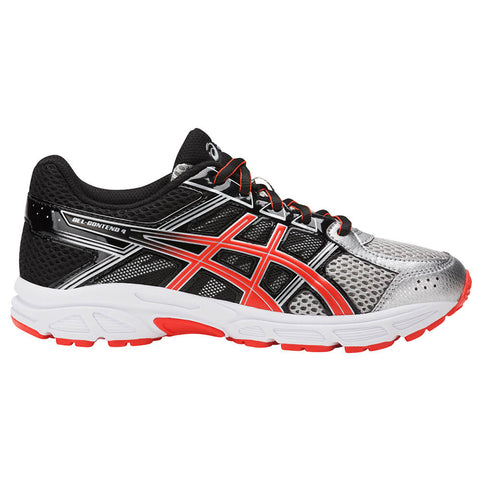 ASICS BOYS GRADE SCHOOL GEL CONTEND 4 JUNIOR SHOE SILVER/CHERRY/BLACK