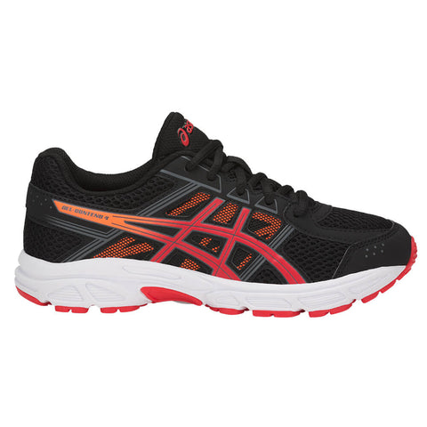 ASICS BOYS GRADE SCHOOL GEL CONTEND 4 KIDS SHOE BLACK/RED/SHOCK ORANGE