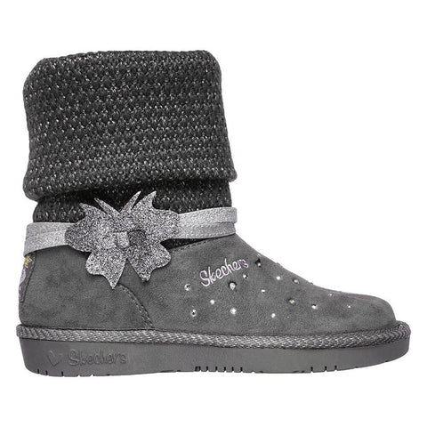 SKECHERS GIRLS PRE-SCHOOL GLAMSLAM - CUDDLE UPS WINTER BOOT CHARCOAL