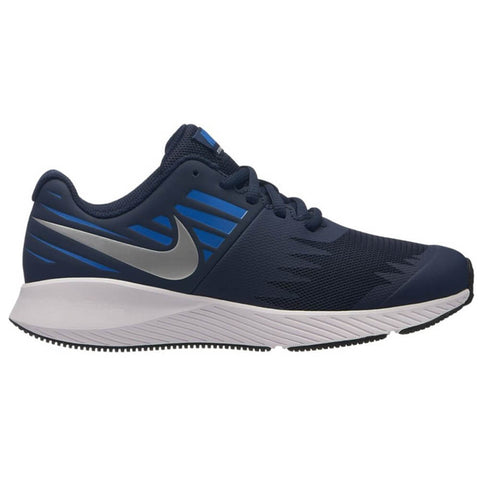 NIKE BOYS GRADE SCHOOL STAR RUNNER KIDS SHOE OBSIDIAN/SILVER/BLUE