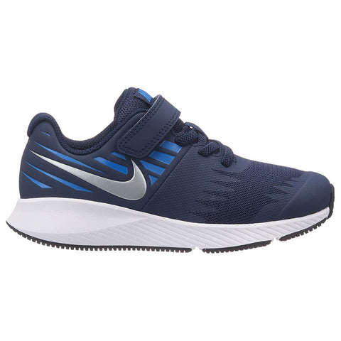 NIKE BOYS PRE-SCHOOL STAR RUNNER KIDS SHOE OBSIDIAN/SILVER/BLUE