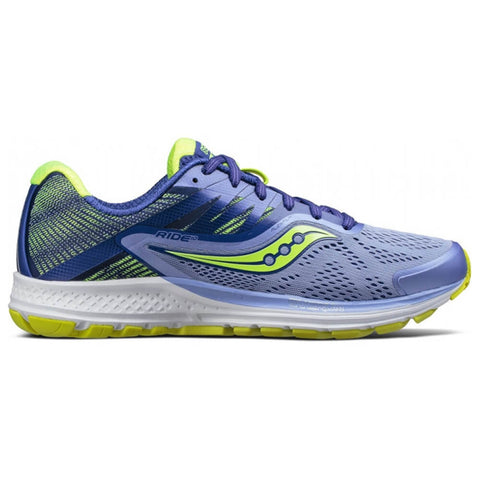 SAUCONY WOMEN'S RIDE 10 RUNNING SHOE PURPLE/BLUE/CITRON