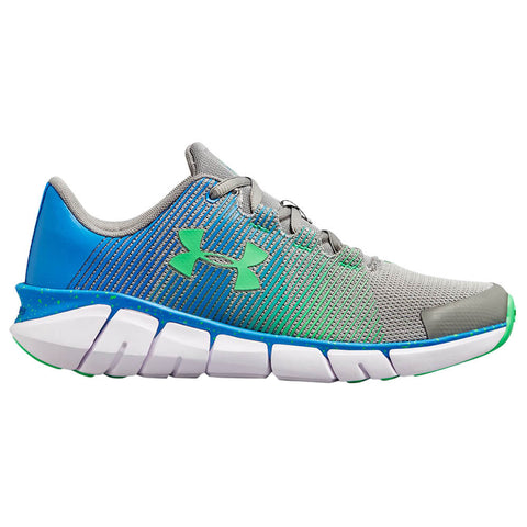UNDER ARMOUR BOYS GRADE SCHOOL X LEVEL SCRAMJET KIDS SHOE STEEL/BLUE/GREEN