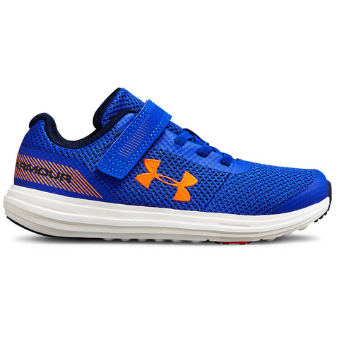 dc7829e168a3e2 UNDER ARMOUR BOYS PRE-SCHOOL SURGE RN AC KIDS SHOE ROYAL WHITE ORANGE