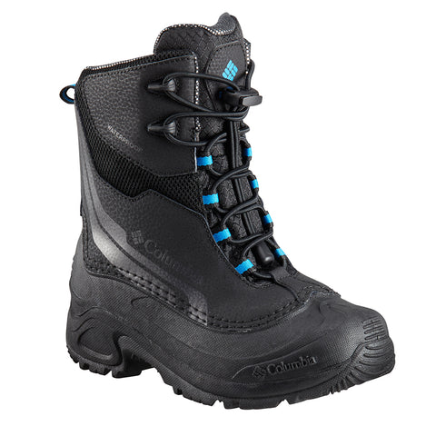 COLUMBIA BOYS BUGABOOT PLUS IV OMNI HEAT WINTER BOOT BLACK/HYPER BLUE