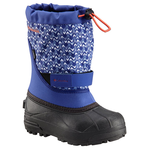 COLUMBIA GIRLS POWDERBUG PLUS II PRINT WINTER BOOT CLEMATIS BLUE/MELONADE