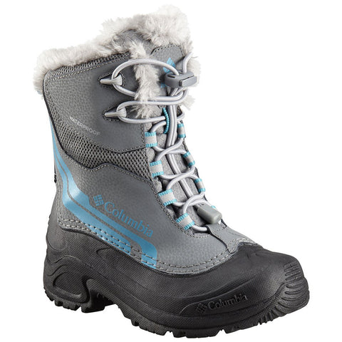 COLUMBIA GIRLS BUGABOOT PLUS IV OMNI HEAT WINTER BOOT GREY/PACIFIC RIM