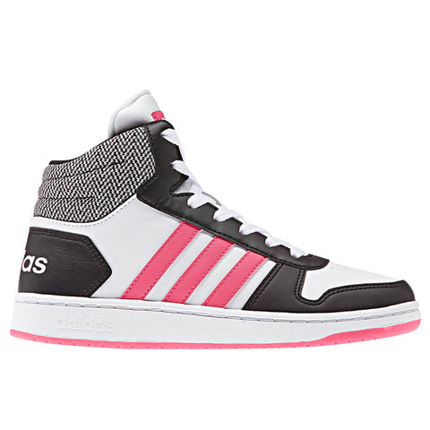 ADIDAS GIRLS GRADE SCHOOL/PRE-SCHOOL HOOPS MID 2.0 BLACK/PINK/WHITE
