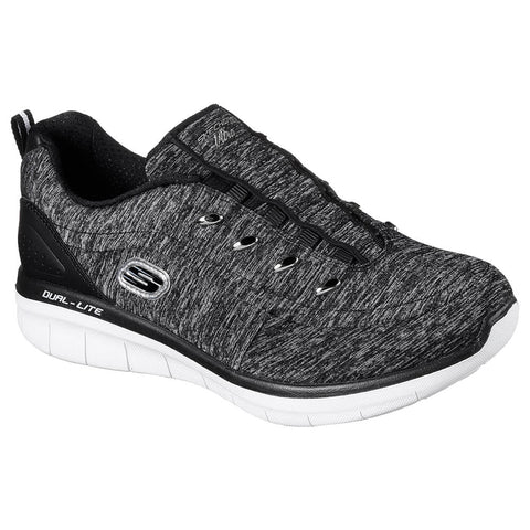SKECHERS WOMEN'S SYNERGY 2.0 - SCOUTED LIFESTYLE SHOE BLACK/WHITE