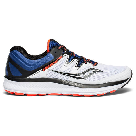 SAUCONY MEN'S GUIDE ISO RUNNING SHOE WHITE/BLUE/VIZI RED