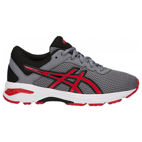 ASICS BOYS GRADE SCHOOL GT-1000 6 KIDS SHOE STONE GREY/RED/BLACK