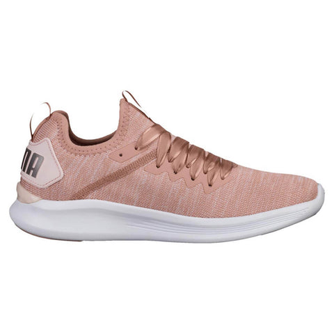 PUMA WOMEN'S IGNITE FLASH EVOKNIT SATIN EP LIFESTYLE SHOE PEACH BEIGE/PEARL/PUMA WHITE