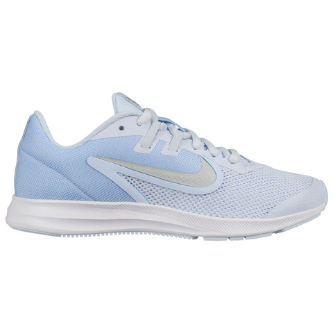 NIKE GIRLS GRADE SCHOOL DOWNSHIFTER 9 KIDS SHOE HALF BLUE/SILVER/ALUMINUM/WHITE