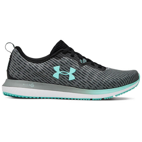 UNDER ARMOUR WOMEN'S MICRO G BLUR TRAINING SHOE BLACK/WHITE/NEO TURQUOISE