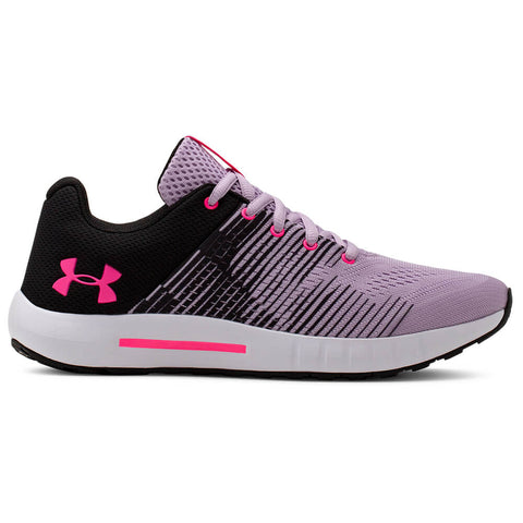 UNDER ARMOUR GIRLS GRADE SCHOOL PURSUIT NG KIDS SHOE PURPLE ACE/BLACK/MOJO PINK