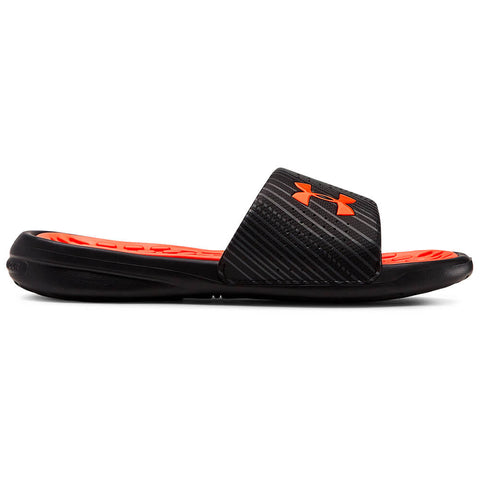 UNDER ARMOUR KIDS PLAYMAKER SPEEDER SLIDE BLACK/PITCH GREY/ORANGE