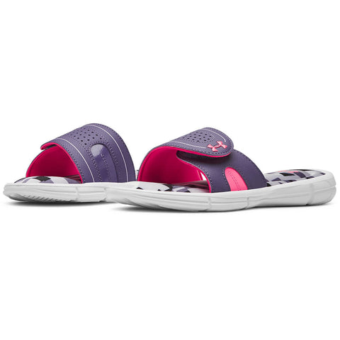 UNDER ARMOUR GIRLS IGNITE JAGGER VIII SLIDE WHITE/PURPLE/MOJO PINK