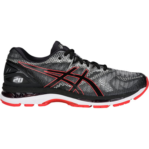 ASICS MEN'S GEL NIMBUS 20 RUNNING SHOE BLACK/RED ALERT