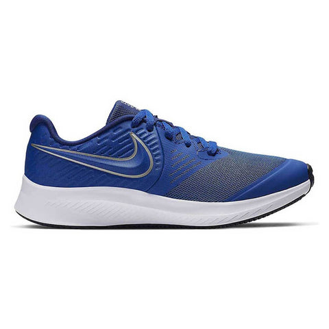 NIKE BOYS GRADE SCHOOL STAR RUNNER KIDS SHOE ROYAL/METALLIC SILVER/VOLT/WHITE