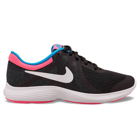 NIKE GIRLS GRADE SCHOOL REVOLUTION 4 KIDS SHOE BLACK/WHITE/ANTHRACITE/HYPER PINK