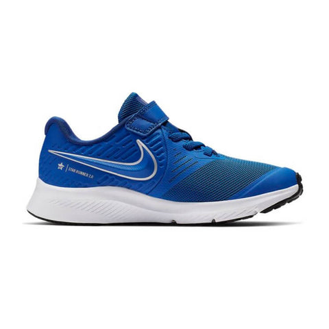 NIKE BOYS PRE-SCHOOL V STAR RUNNER 2 KIDS SHOE ROYAL/METALLIC SILVER