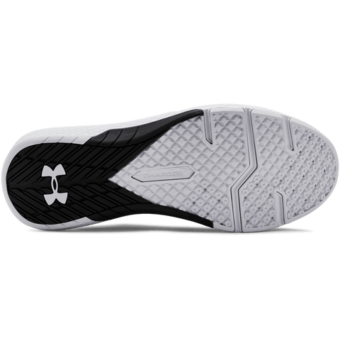 UNDER ARMOUR MEN'S CHARGED COMMIT TR 2.0 TRAINING SHOE BLACK/WHITE/WHITE BOTTOM SOLE