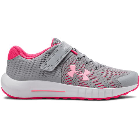 UNDER ARMOUR GIRLS PRE-SCHOOL PURSUIT BP AC KIDS SHOE MOD GREY/WHITE/PINK