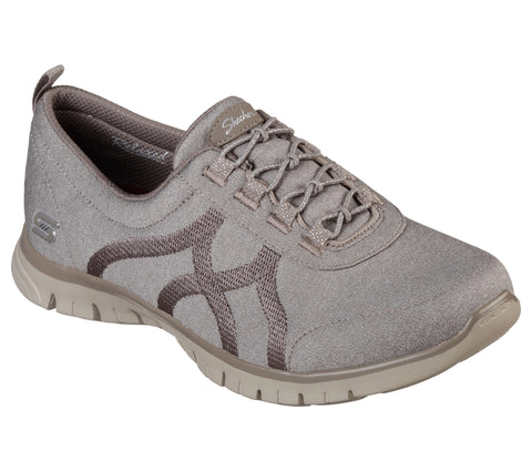SKECHERS WOMEN'S EZ FLEX RENEW BRIGHT DAYS TAUPE LIFESTYLE SHOE