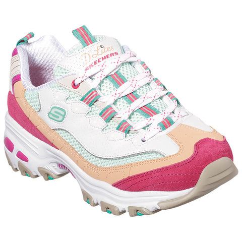 SKECHERS WOMEN'S D'LITES-SECOND CHANCE WHITE/PINK/ORANGE LIFESTYLE SHOE