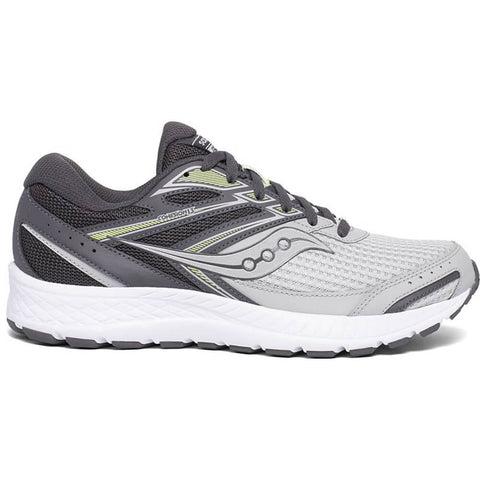 SAUCONY MEN'S COHESION 13 RUNNING SHOE GREY/CITRON