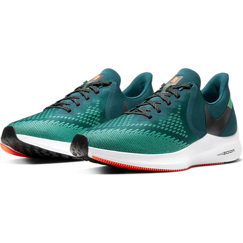 NIKE MEN'S AIR ZOOM WINFLO 6 HKNE MID RUNNING SHOE TURQUOISE/BLACK/GREEN
