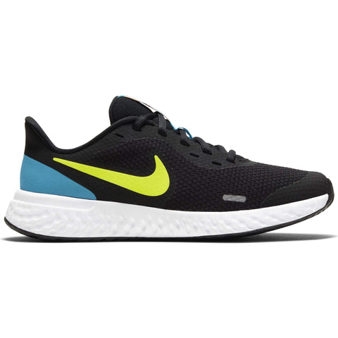 NIKE BOYS GRADE SCHOOL REVOLUTION 5 KIDS SHOE BLACK/LEMON/BLUE