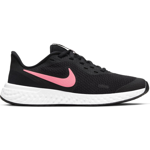NIKE GIRLS GRADE SCHOOL REVOLUTION 5 KIDS SHOE BLACK/SUNSET PULSE