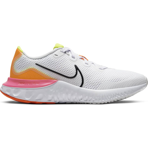 NIKE GIRLS GRADE SCHOOL RENEW RUN KIDS SHOE WHITE/BLACK/PLATINUM TINT/PINK BLAST