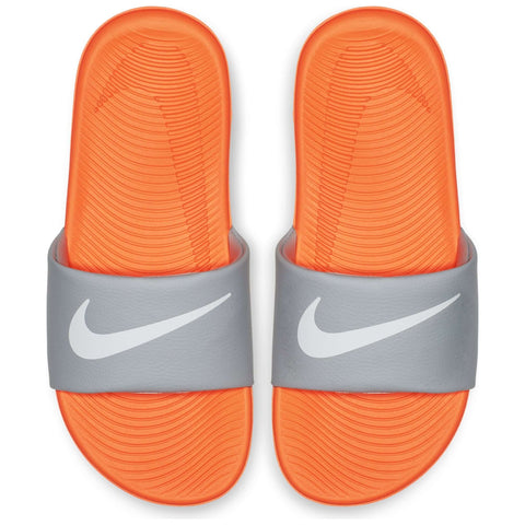 NIKE KIDS KAWA SLIDE ORANGE/WHITE/WOLF GREY