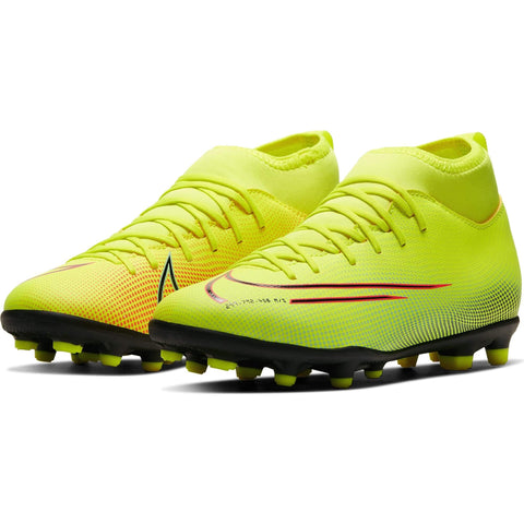 NIKE JUNIOR SUPERFLY 7 CLUB MG SOCCER CLEAT LEMON/BLACK