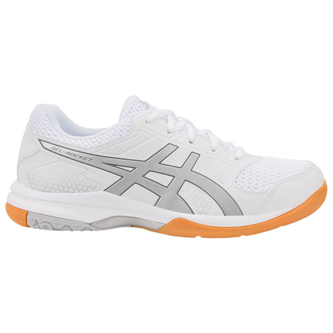 ASICS WOMEN'S GEL ROCKET 8 INDOOR COURT SHOE WHITE/SILVER/WHITE
