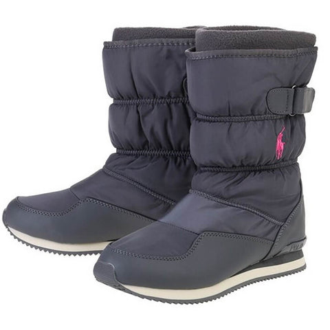 POLO GIRLS SNOW DASH WINTER BOOT CHARCOAL/PINK PONY