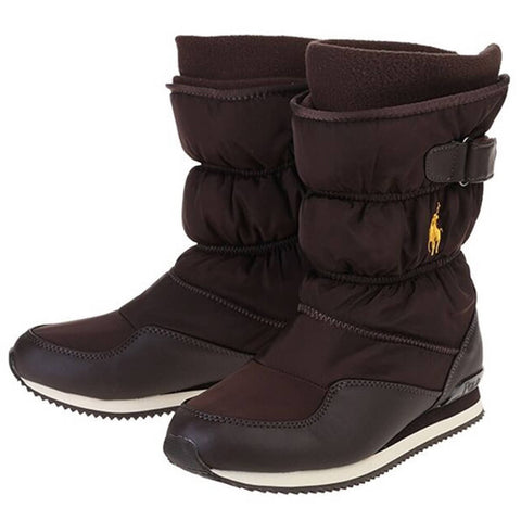 POLO GIRLS SNOW DASH WINTER BOOT CHOCOLATE/GOLD PONY