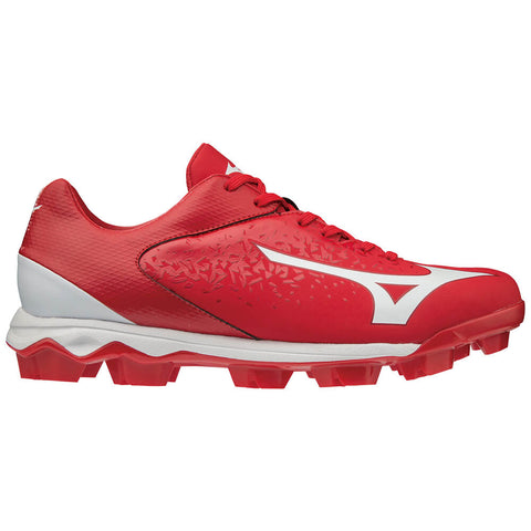 MIZUNO MEN'S WAVE SELECT NINE TPU BASEBALL CLEAT RED/WHITE