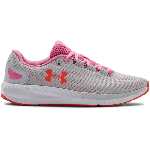 UNDER ARMOUR WOMEN'S CHARGED PURSUIT 2 RUNNING SHOE GREY/WHITE/LIP