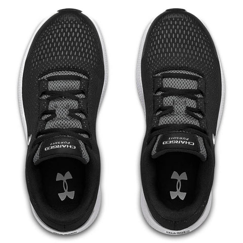 UNDER ARMOUR BOYS GRADE SCHOOL CHARGED PURSUIT 2 KIDS SHOE BLACK/WHITE/WHITE