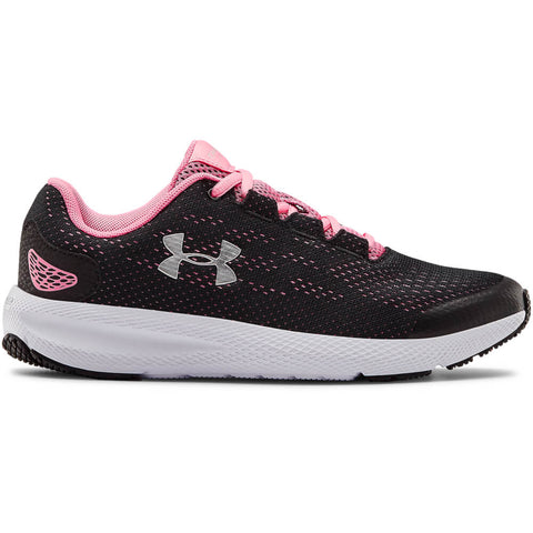UNDER ARMOUR GIRLS GRADE SCHOOL CHARGED PURSUIT 2 KIDS SHOE BLACK/LIP/SILVER