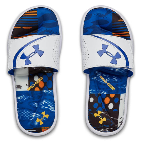 UNDER ARMOUR BOYS IGNITE STRIKER PW SLIDE WHITE/BLUE