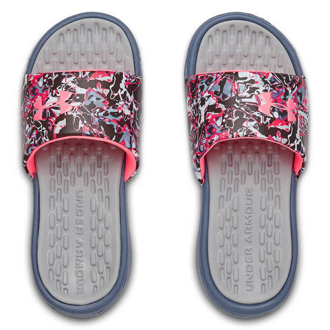 UNDER ARMOUR GIRLS PLAYMAKER CHROMA SLIDE GREY/BLUE/PINK