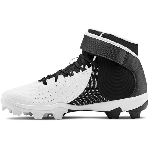 UNDER ARMOUR JUNIOR HARPER 4 MID RM BASEBALL CLEAT BLACK/WHITE