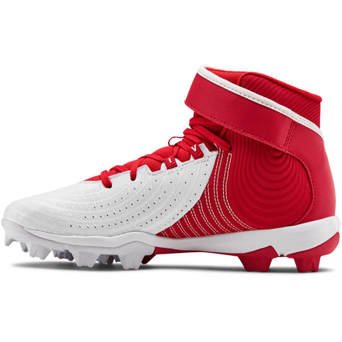 UNDER ARMOUR JUNIOR HARPER 4 MID RM BASEBALL CLEAT RED/WHITE